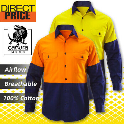 Hi Vis Safety Shirts Light 100% Cotton Drill Long Sleeve Work Wear Vents