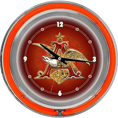 Trademark Global Budweiser A and Eagle Neon Wall Clock Red 14-Inch