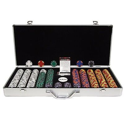 Trademark Poker 650 Tri-Color Ace/King Chip Executive Aluminum Case Silver 14gm
