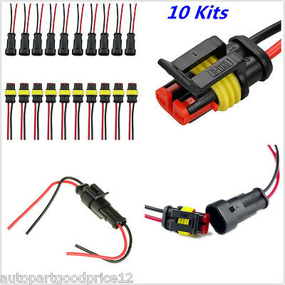 10Kit 2 Pin Waterproof Electrical Cable Wire Connector Plug Car truck Motorcycle