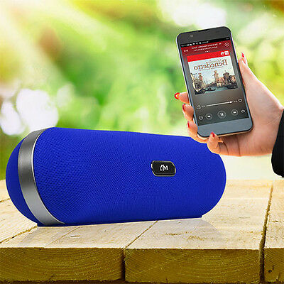 Portable Bluetooth Speaker Wireless Bass Stereo Blue Tablet PC Rechargeable Blue