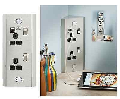 13A 2Gang Vertical Corner Mounting Socket Off /Home Use With 2 USB Charger Ports