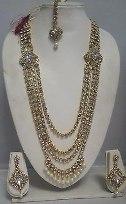 Indian Traditional Bollywood Jewellery Gold Pearl Ranihar Necklace & Earring