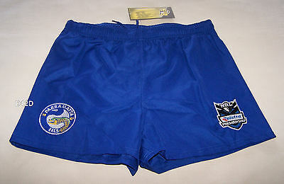 Parramatta Eels NRL Boys Blue Embroidered Rugby Shorts Size 16 New