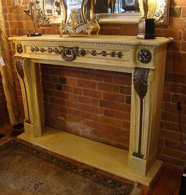 Hand Carved Solid Marble & Bronze French Louis XVI Style Fireplace Surround