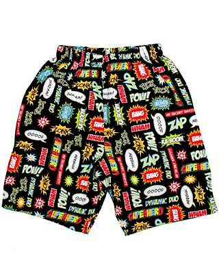 Comic Superhero Shorts Pow Bam Kids DC Marvel Cotton Cool Black Superman Batman