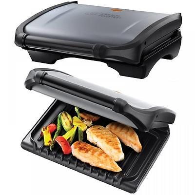 New George Foreman 5 Portion 19920 Family Grill Silver with Removable Tray Gift