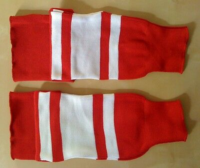 Ice or Roller Hockey Socks Red and White  S, M, L Size