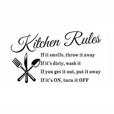 Kitchen Rules Wall Sticker Decal Mural DIY Home Decor Art Quote Decal FK