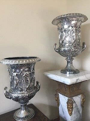 "Silver-Plate Vases (2) Both Unique & Hand-Made 19""ht. X 12 1/2"" Dia. Top 30 Lbs."