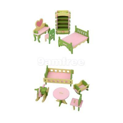 Wooden Doll Bed/ Nursery Room House Furniture Dollhouse Miniature Set For Kids