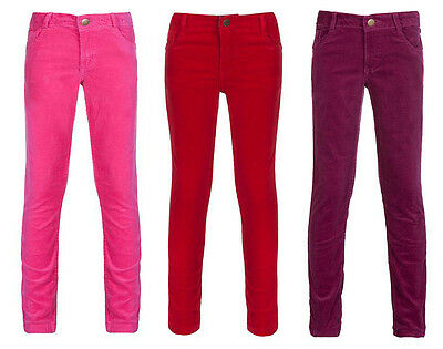 Girls Cord Trousers Corduroy Red Pink Mulberry Skinny Adjustable Waist