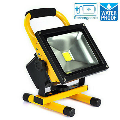 20W Portable Rechargeable Battery LED Work Light Cool White Floodlight Charger