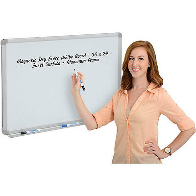 Magnetic Dry Erase White Board - 36 x 24 - Steel Surface - Aluminum Frame