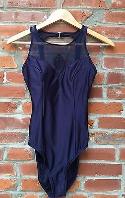 Vintage 90s One Piece Swimsuit Womens Shiny Blue Mesh Panel High Neck (660)