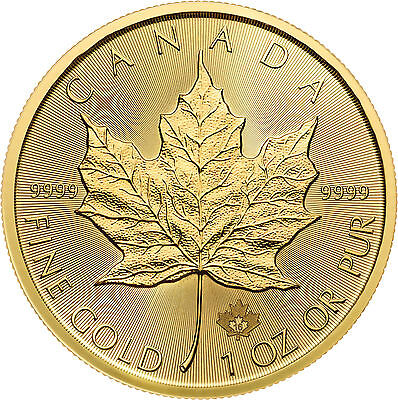 Lot of 5 - 2016 1oz Gold Canadian Maple Leaf BU