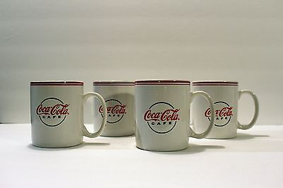 Coca-Cola Cafe White Coffee Mugs By Gibson 2002 , Set Of 4