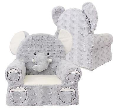 Sweet Seats Elephant Plush Childrens Chair, Grey, One Size