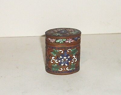 Old Chinese Bronze Cloisonne Open Enamel Small Opium Canister Jar Box