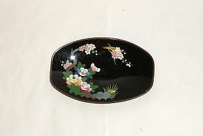 Inaba Cloisonne Enamel Blossoms Signed Oval Bowl Plate Tray