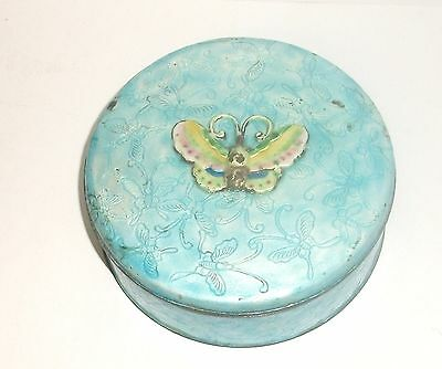 Old Chinese Butterfly Design Cloisonne Repousse Blue Enamel Humidor Bowl Box