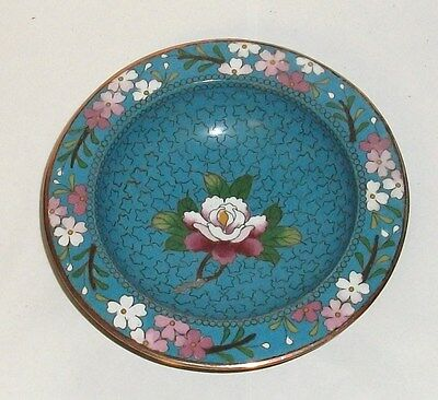 Small Turquoise Floral Cloisonne Enamel Inaba Plate Bowl