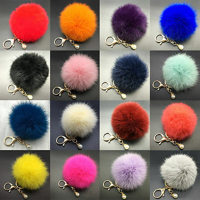 Artifical Rabbit Fur Fluffy Ball Car Keyring Pendant Handbag Charm Keychain Pom