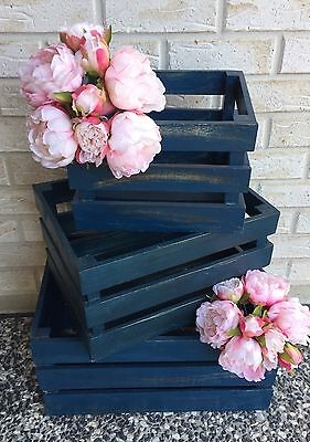 NEW Set of 3 Navy Blue Handcrafted Wooden Wood Decorative Crates Boxes *FAULTY