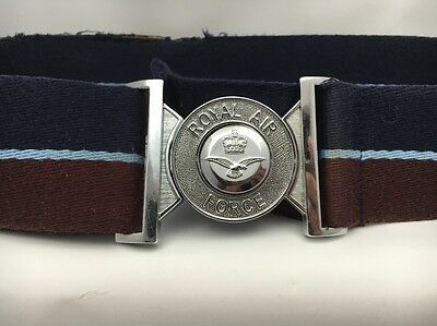 "Royal Air Force Stable Belt RAF Buckle Max 35"" Used Belt"