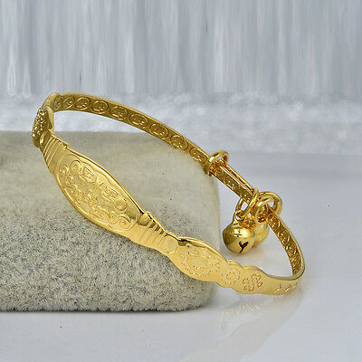 Childrens Girls Charm 18K Yellow Gold Filled Bell Infant Bangle Bracelet