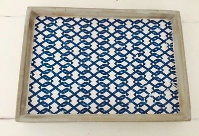 NEW Concrete Cement Blue Bianco Rectangle Serving Decorative Tray
