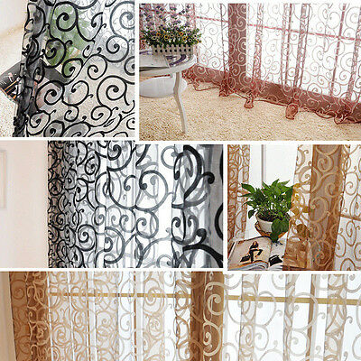 Vintage Floral Tulle Voile Door Window Decro Drape Panel Sheer Curtain Valances