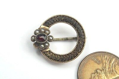 TINY ANTIQUE ENGLISH 15K GOLD GARNET & PEARL WOVEN HAIR MOURNING BROOCH c1840