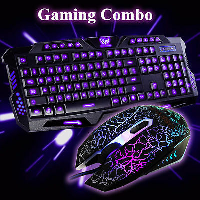 M200 3 LED Colors Wired Gaming Keyboard and Illuminated Mouse Mice Bundles Combo
