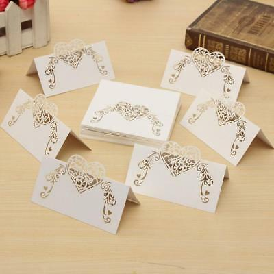 50pcs Table Number/Name/Place Cards Laser Cut Heart Wedding Party Decor