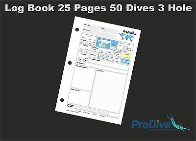 Scuba Diving Log Book 25 Pages 50 Dives 3 Hole PADI Standard