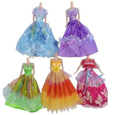 5 Pcs Handmade Wedding Dress Party Gown Clothes Outfits For Barbie Doll Gift New
