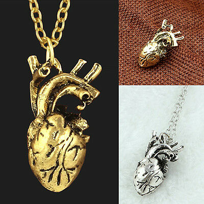 Men 3D Anatomical Hollow Heart Pendant Necklace Sweater Chain Classy