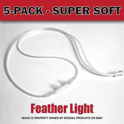NEW - Salter Labs 16SOFT-7 Oxygen Nasal Cannula. Pack of 5 (five) w/7ft Tubing.
