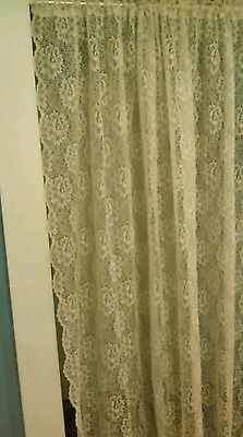 "Vintage Ivory Lace Curtain. Beautiful Floral with Scalloped Edges. 58""W X 60""L."