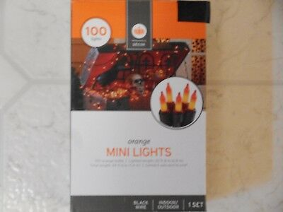 100 Orange Mini Lights Black Wire String Lights Indoor/outdoor Free Shipping Nib