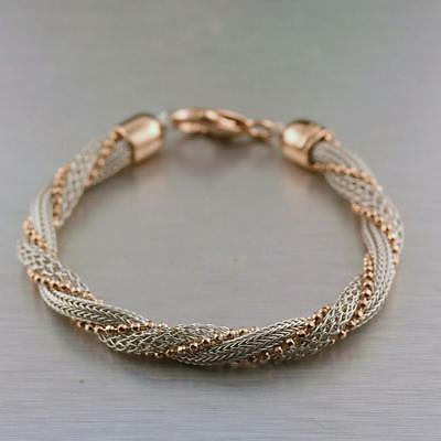 925 Sterling Silver Two-tone Twist Rope Beaded Link Chain Bracelet 16.03 grams