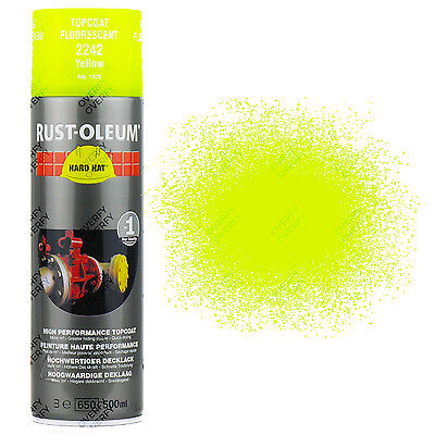 x1 High Coverage Rust-Oleum Fluorescent Yellow Spray Paint Neon Hard Hat 500ml