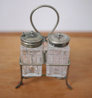 Antique Sterling Spoon & EPNS Silverplate Salt Pepper Shaker Set Mustard Pot
