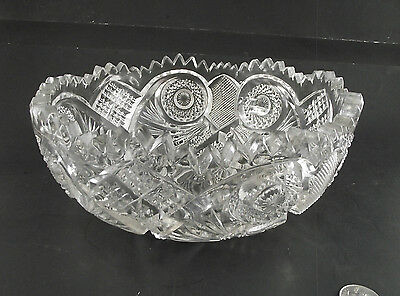"Large 9"" Nucut Pressed Glass Patterned Bowl"