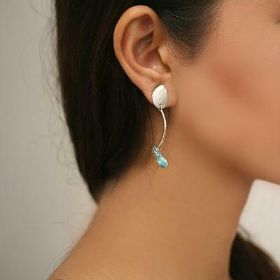 Natural Blue Topaz Drop Earrings 14k White Gold made in Italy
