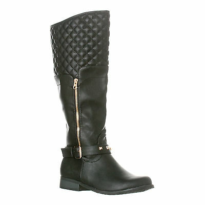 Riverberry Women's Ava Quilted Knee-High Low Heel Casual Riding Boots