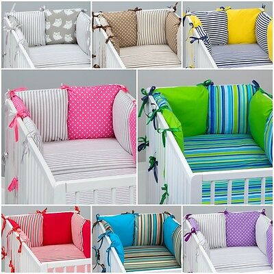 7 pcs COT / COT BED  BEDDING SET PILLOW BUMPER + FITTED SHEET STRIPES PATTERN