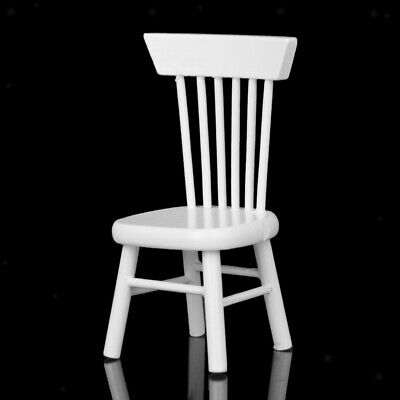 Dollhouse Miniature White Painted Wooden Dining Side Chair Garden Furniture 1:12