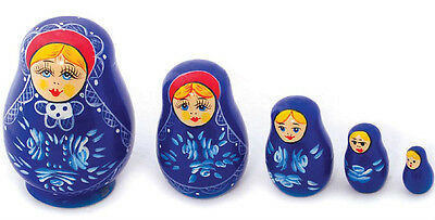 New Wooden Toy 5 Nesting Russian Babushka Doll Blue floral
